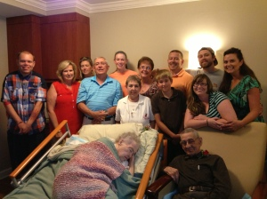 Margaret and Mike, on their 75th wedding anniversary, surrounded by their family.