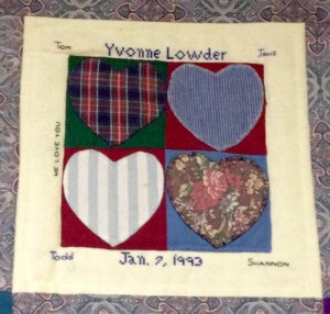 The quilt square lovingly made in honor of Shannon's mom, Yvonne.