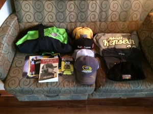 Joe Gibbs Racing was very generous with their swag!